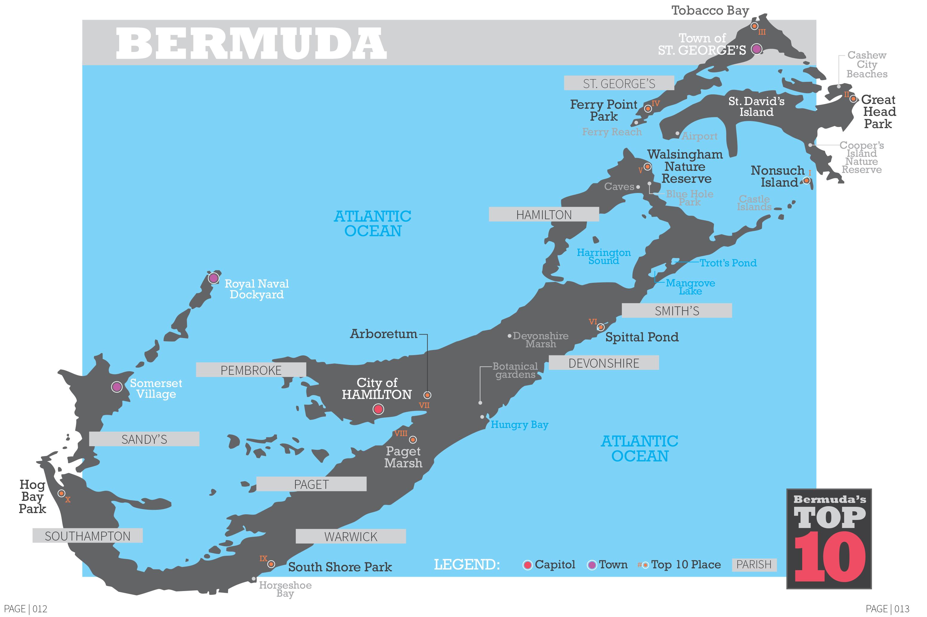 Bermuda Map toptenwildlife