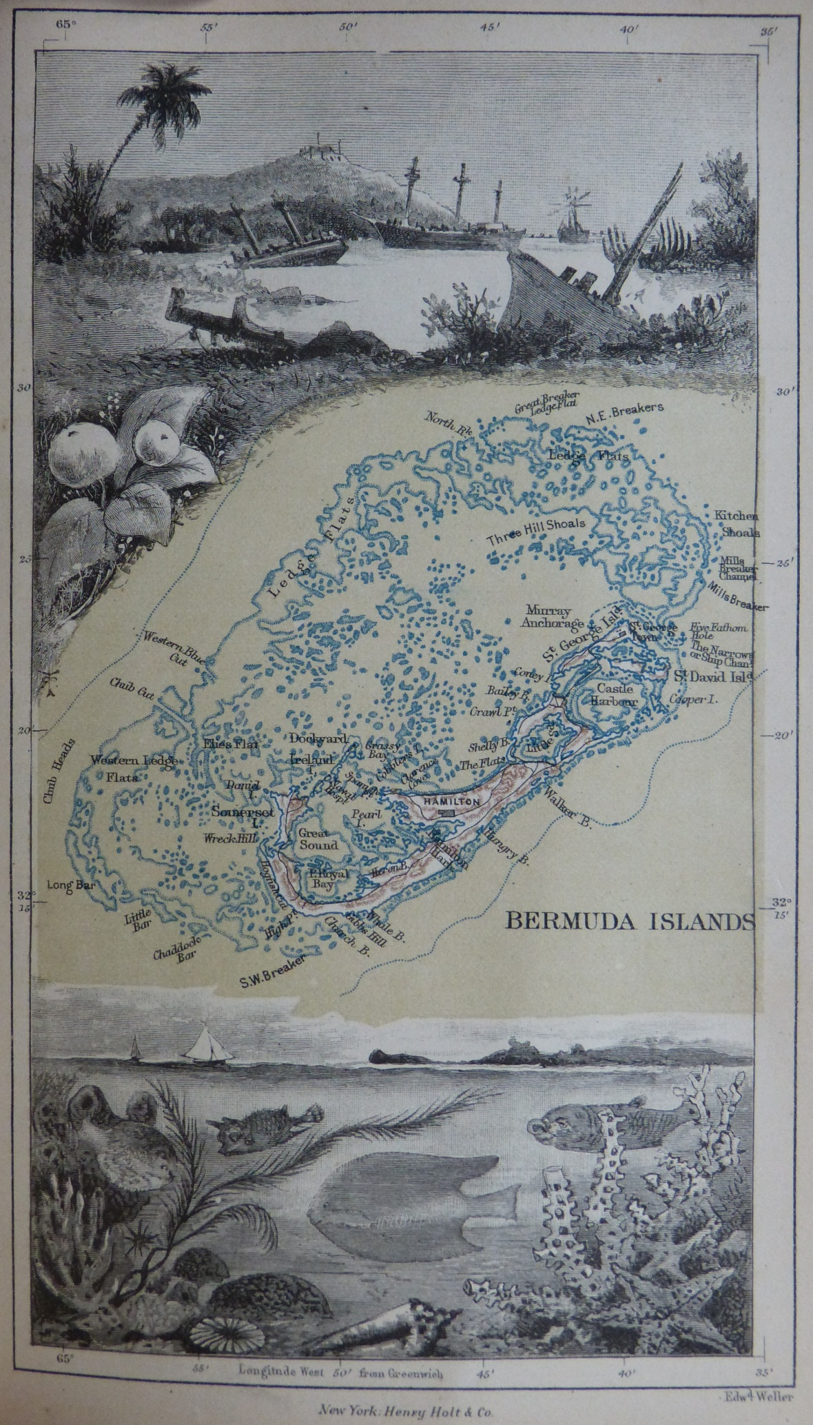 1885_Map_of_Bermuda_and_its_reefs_by_Anna_Brassey
